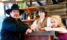 Dan Davies, Crispian Belfrage and Sadie Kaye on the set of West of Thunder